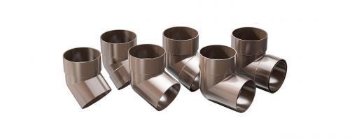 Колено 67,5° с двумя раструбами водосточной трубы ProAqua Д=90 мм, цвет коричневый