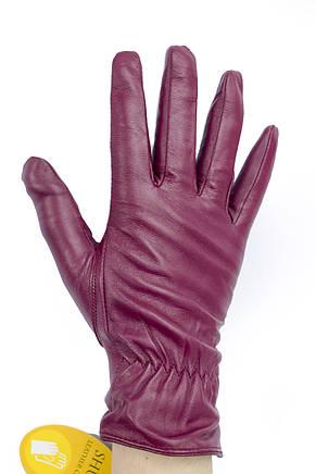 Женские кожаные перчатки бордовые 791, фото 2