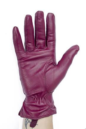 Женские кожаные перчатки бордовые 791, фото 3