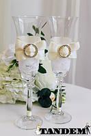 Свадебные бокалы Бантик, айвори с брошью