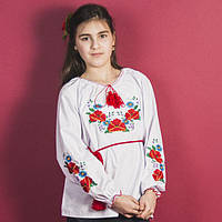 """KR71332 Блуза підліт. вишив """"Мак-Ромашки"""" дов/рукав біла р.146"""