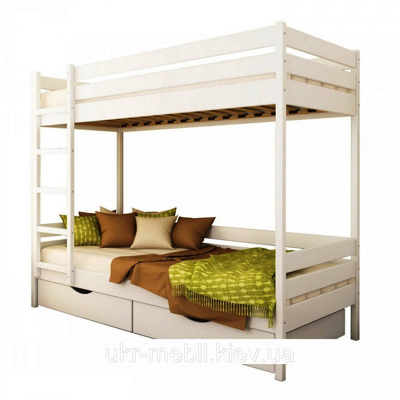 Детская двухъярусная кровать Милан из массива дерева