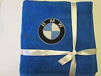 Полотенце махровое,70х140 с вышивкой логотип BMW. Вышивка эмблемы Вашего автомобиля.Подарок для автомобилиста.