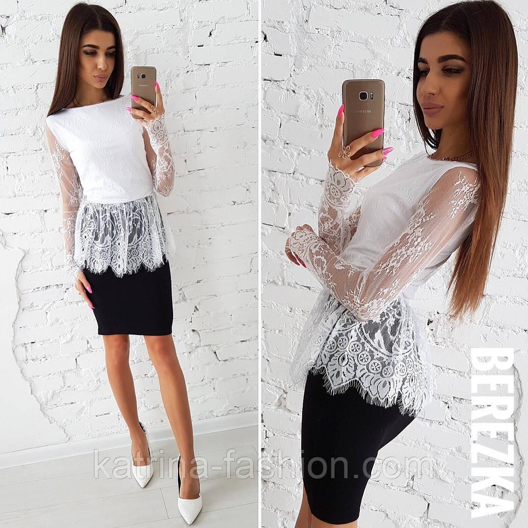 b1ab4f8d4b5 Женский костюм  кружевная белая блуза с баской и юбка-карандаш ...