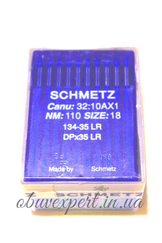 Игла для кожи Schmetz 134 LR 110/18 , машинные, с режущим острием, пластина 10 игл