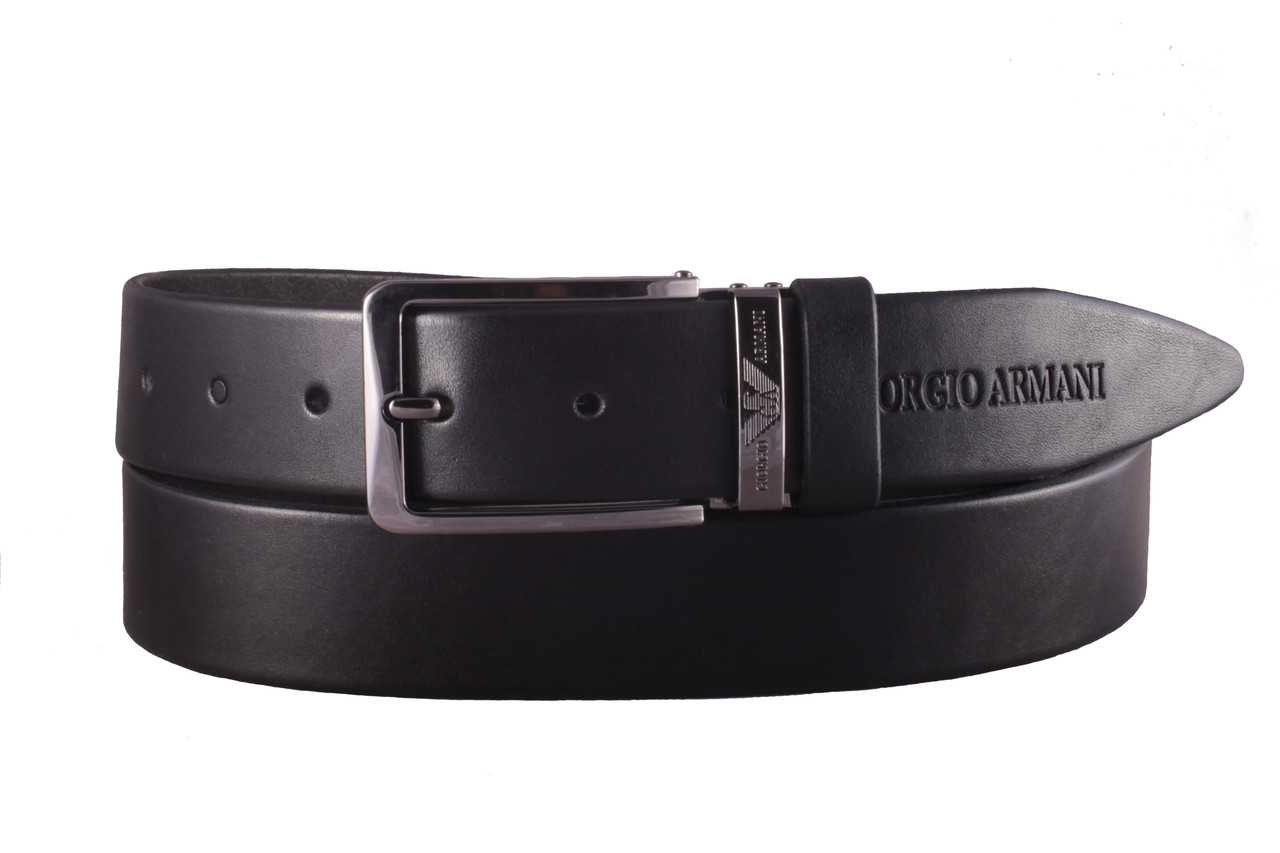 Armani №1 кожаный черный ремень