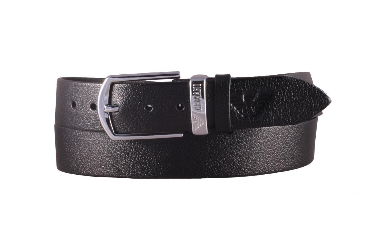 Armani №4 кожаный черный ремень