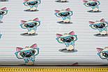 """Ткань """"Котёнок в голубых очках"""" на светло-мятной полоске, № 1428а, фото 2"""