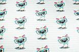 """Ткань """"Котёнок в голубых очках"""" на светло-мятной полоске, № 1428а, фото 3"""