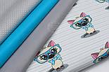"""Ткань """"Котёнок в голубых очках"""" на светло-мятной полоске, № 1428а, фото 5"""