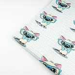 """Ткань """"Котёнок в голубых очках"""" на светло-мятной полоске, № 1428а, фото 6"""