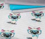"""Ткань """"Котёнок в голубых очках"""" на светло-мятной полоске, № 1428а, фото 9"""