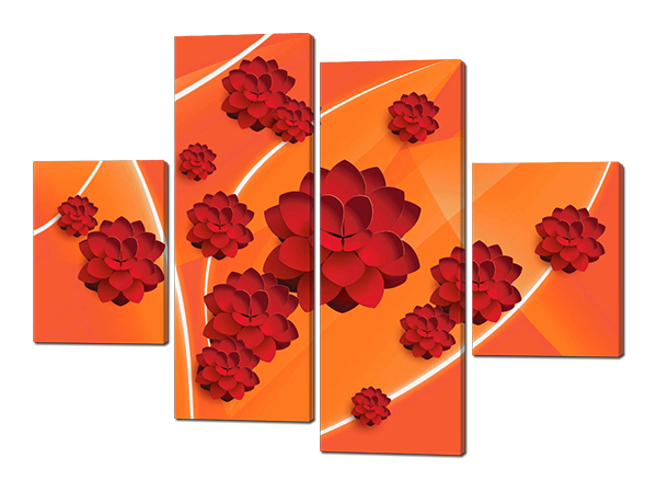 Картины  модульные Цветы в красных тонах
