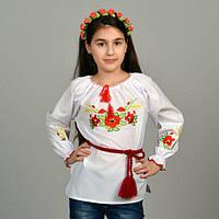 """KR71736 Блуза дитяч.вишиванка """"Пшеничні вусики"""" білий р.128"""