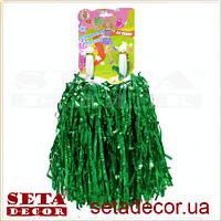 Зеленые помпоны для черлидинга и спортивных танцев.