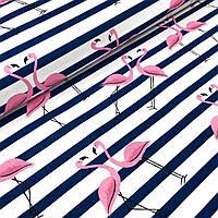 """Польская хлопковая ткань """"фламинго розовые с темно синими полосками на белом"""""""