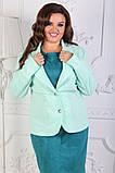 Эффектный пиджак с отложным воротником и длинными рукавами в размерах 52-58, фото 2