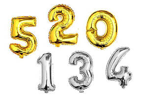 Шарик надувной Цифры золото/серебро 75см