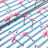 """Польская хлопковая ткань """"фламинго розовые с голубыми полосками на белом"""""""