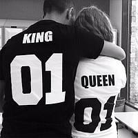 d2f7cb115cbe2 Качество Парные именные футболки типа King Queen с номером фамилией принтом  качественные до 50 стирок, фото
