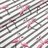 """Польская хлопковая ткань """"фламинго розовые с серыми полосками на белом"""""""