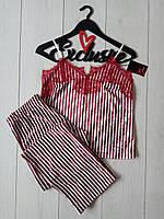 Велюровая майка с кружевом и шорты , пижамный комплект в полоску.
