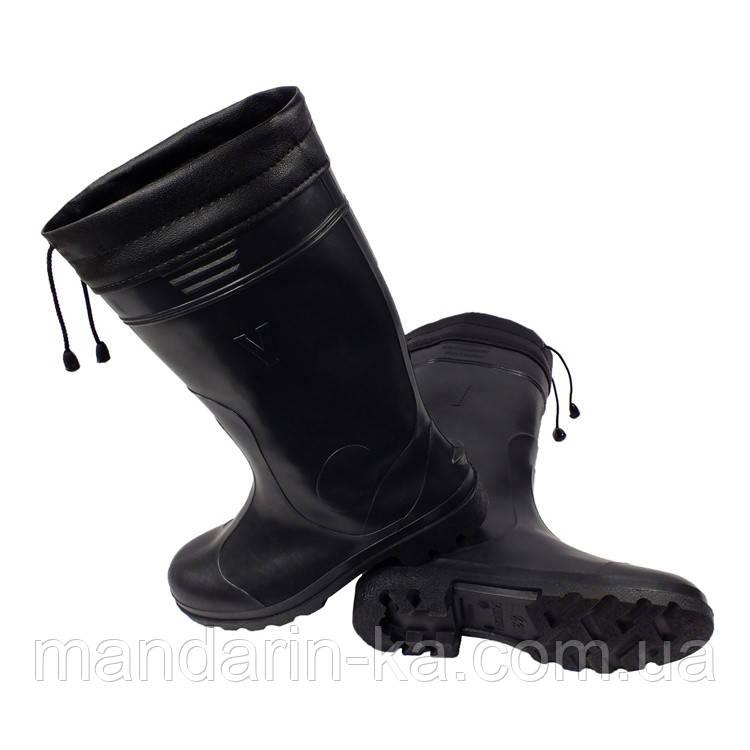 Сапоги резиновые черные шнурок