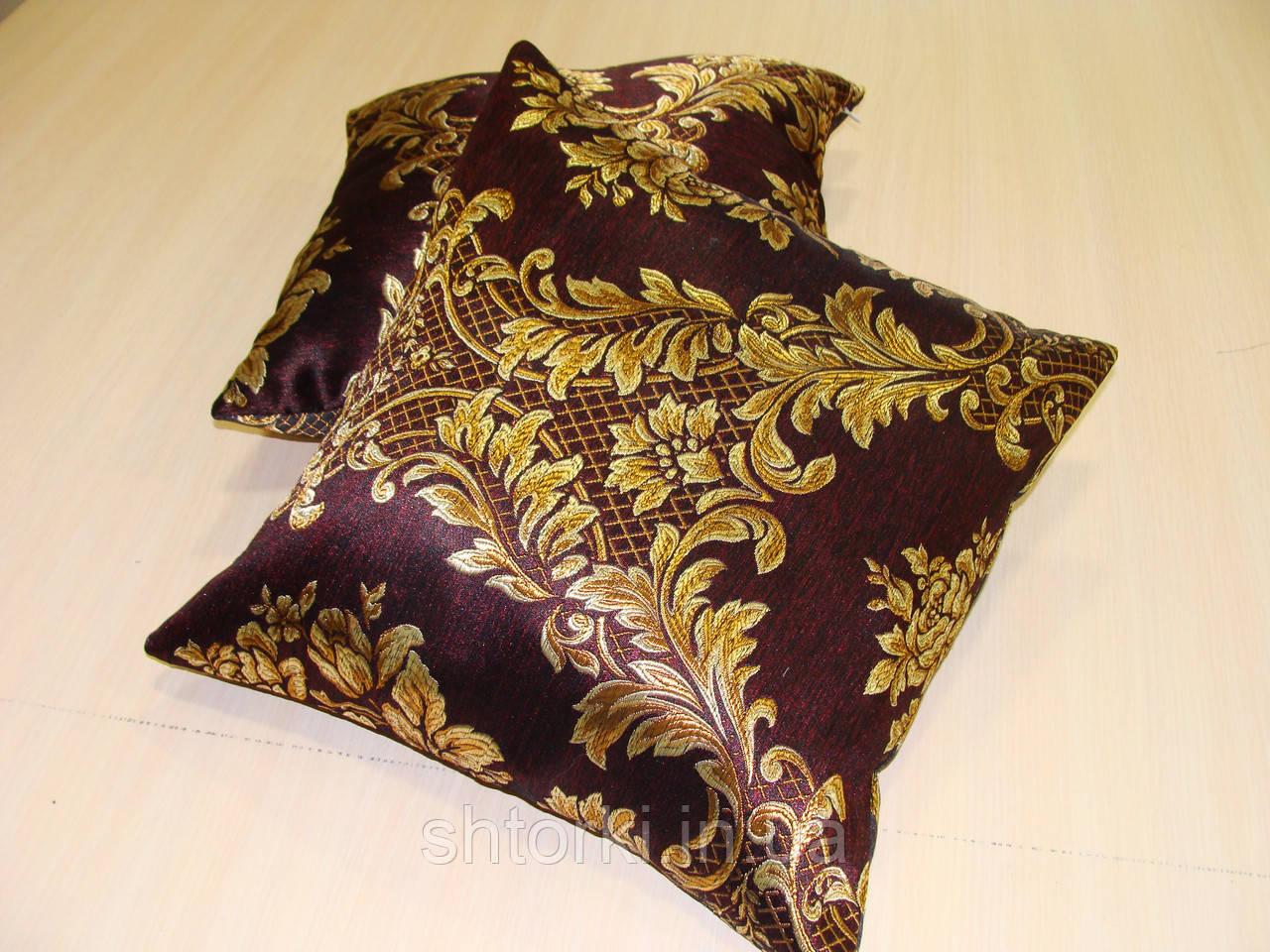 Комплект подушек Черные з золотым рисунком двусторонние, 2шт 40х40см