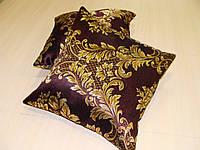 Комплект подушек Черные з золотым рисунком двусторонние, 2шт 40х40см, фото 1