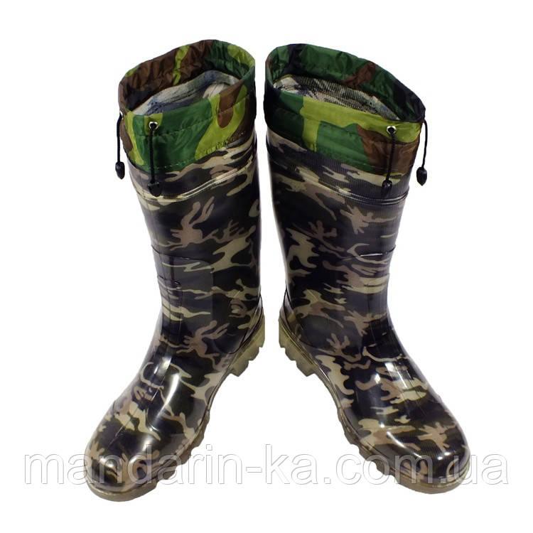 Сапоги мужские  резиновые камуфляж  шнурок