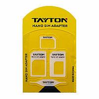 Набор переходников для сим-карт TAYTON (sim/nano sim, sim/micro sim, nano sim/micro sim, ключ для изъятия)