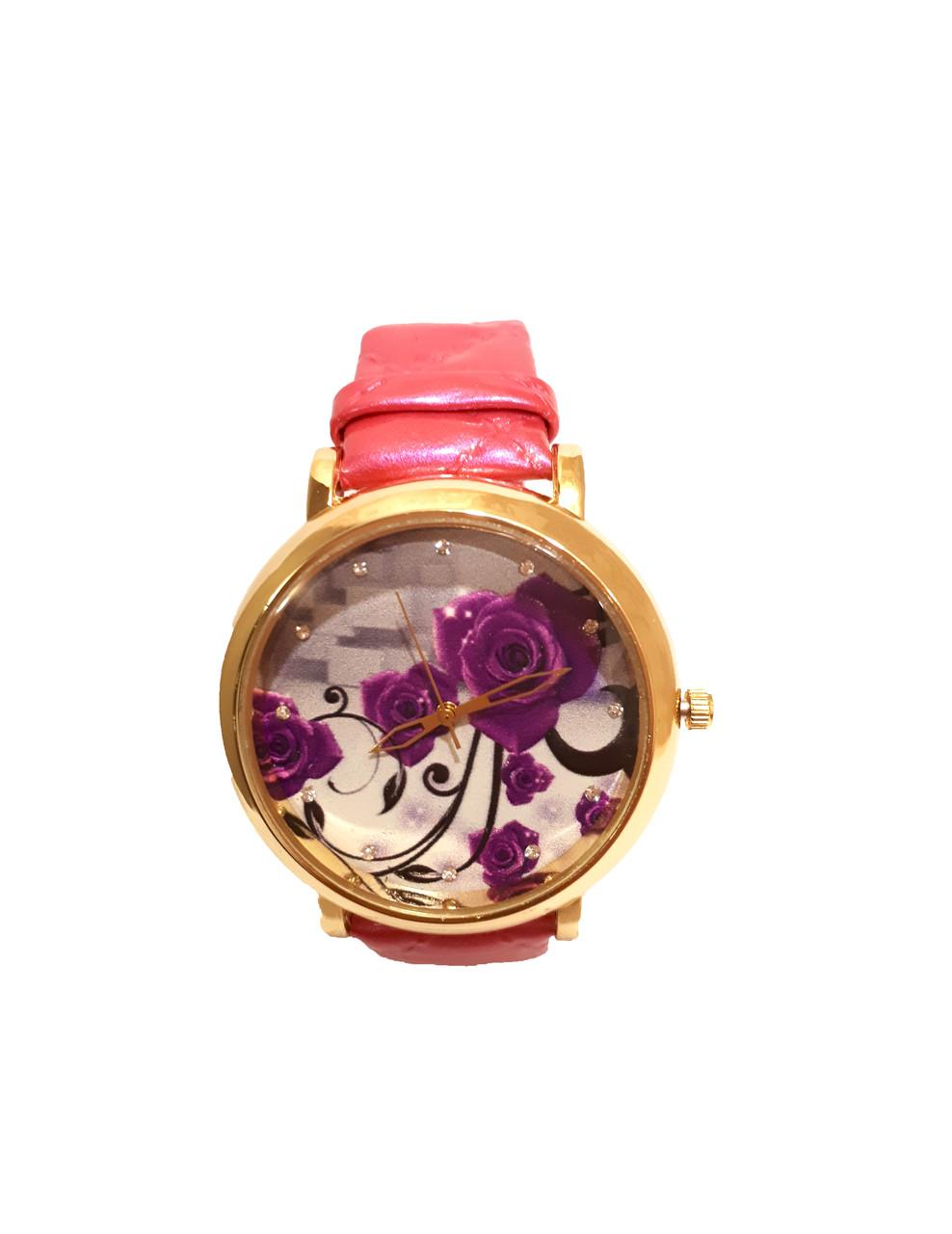"""Часы женские кварцевые """"Фиолетовый цветок"""" розовый"""