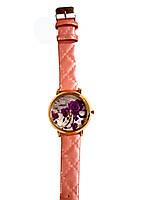 """Часы женские кварцевые """"Фиолетовый цветок"""" розовый, фото 2"""
