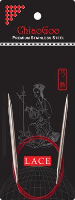 Круговые спицы ChiaoGoo с удлиненным кончиком SS RED LACE 8,0 мм (40 см)