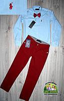 Нарядный костюм для мальчика: голубая рубашка и бардовые брюки, фото 1