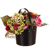 """Коробка для цветов """"Элегантность"""" (черный цвет)"""