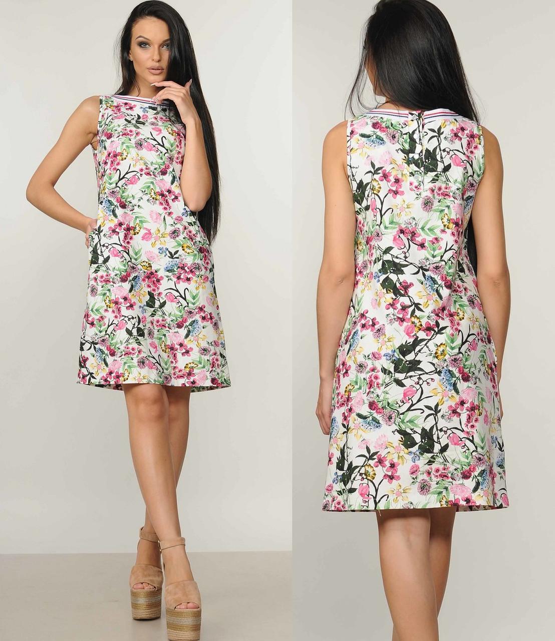 Льняное платье А силуэтное женское летнее лен с принтом