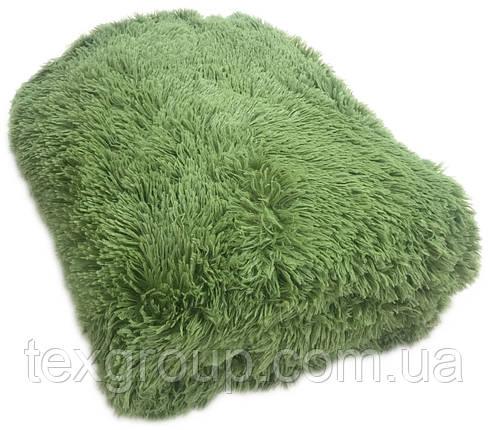 Меховое покрывало 220*240 зелёный , фото 2