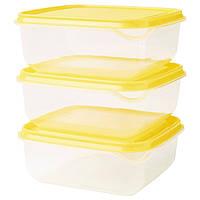 ПРУТА Контейнер, прозрачный, желтый, 0.6 л, з шт., 90335843, IKEA, ИКЕА, PRUTA
