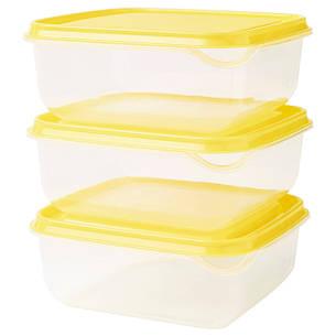 ПРУТА Контейнер, прозрачный, желтый, 0.6 л, з шт., 90335843, IKEA, ИКЕА, PRUTA, фото 2