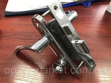 Ручка-планка с сердцевиной ключ-ключ и механизмом для межкомнатной двери с замком, Николаев, фото 2