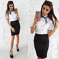 Женский костюм: блуза и юбка-карандаш