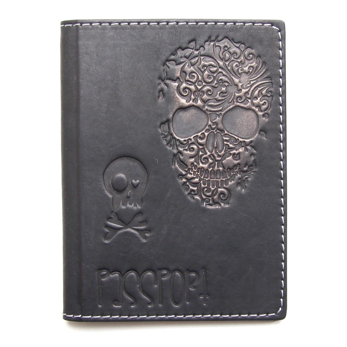 """Обложка для паспорта кожаная """"Черепок"""" (Guk)"""