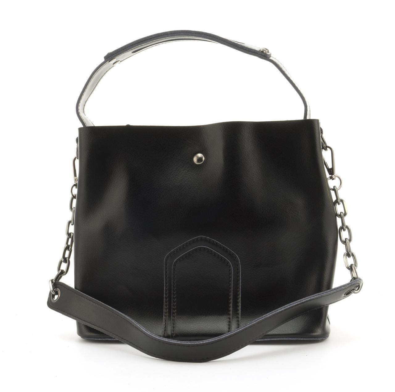 Стильная кожаная элитная женская сумка из кожи GALANTY art. 8641 Турция черная