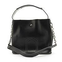 Стильная кожаная элитная женская сумка из кожи GALANTY art. 8641 Турция черная, фото 1