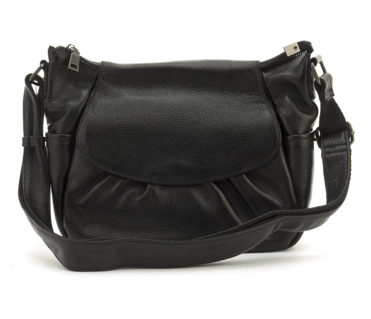 Стильная  женская мягкая сумка из натуральной кожи GALANTY art. 6068 Турция черная