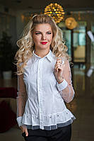 Белая Рубашка с прозрачным рукавом, фото 1