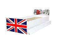 Кровать с ящиком Viorina-Deko BEVERLY 002 Синий с красным 80×190