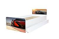 Кровать с ящиком Viorina-Deko BEVERLY 003 Серый с красным 80×190