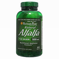 Люцерна, Natural Alfalfa 500 mg, Puritan's Pride, 500 таблеток
